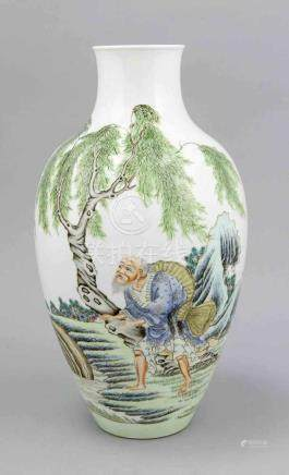 Vase, China 20. Jh., polychrome Malerei mit Greis in einer Landschaft einen Kranich erspähend, H. 32