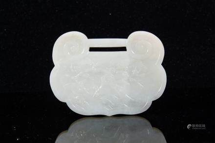 LARGE CHINESE WHITE JADE LOCK SHAPE PLAQUE