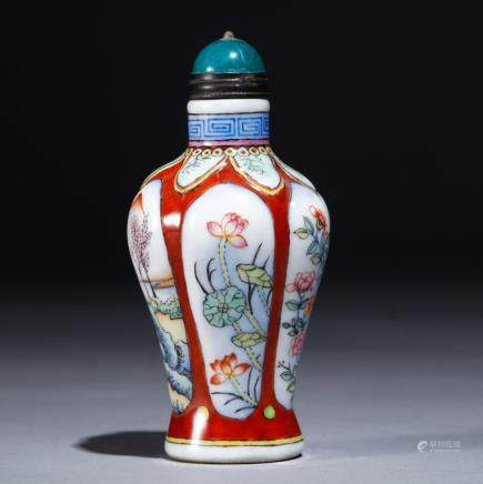 CHINESE  COLOUR ENAMELS SNUFF BOTTLE
