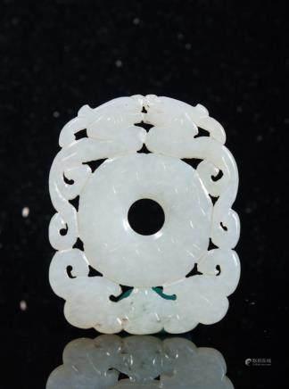 CHINESE WHITE JADE DOUBLE CHILONG BI