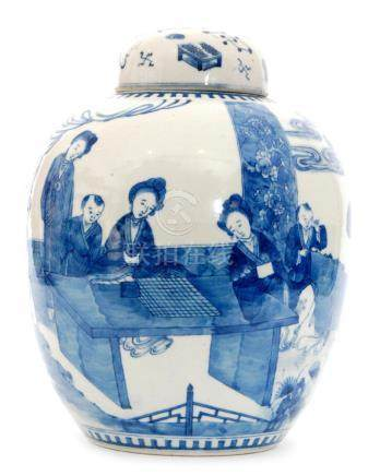 A large early 20th Century Chinese blue and white jar and cover decorated in the round with ladies