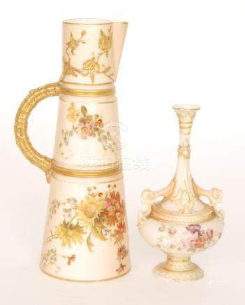 A Royal Worcester shape 1047 blush ivory jug decorated with sprays of flowers and relief moulded