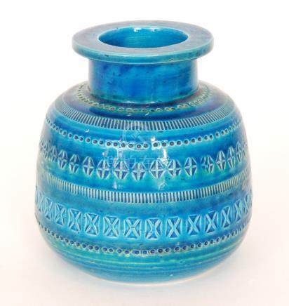 A 1960s Bitossi Rimini Blue vase decorated with bands of impressed patterns against a tonal blue