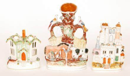 Two 19th Century Staffordshire pastelle burners,