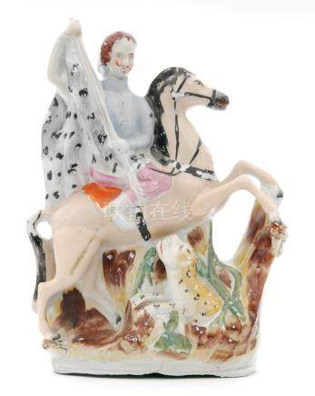A 19th Century Staffordshire model of a leopard hunter,