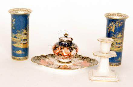 A late 19th Century Royal Crown Derby inkwell decorated in the Imari 2444 pattern,