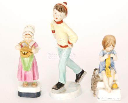 Three Royal Worcester figurines modelled by Freda Doughty comprising Tuesday's Child Is Full Of