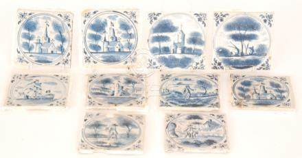 Ten late 19th to early 20th Century 5 inch plastic clay tiles each decorated in the Dutch Delft