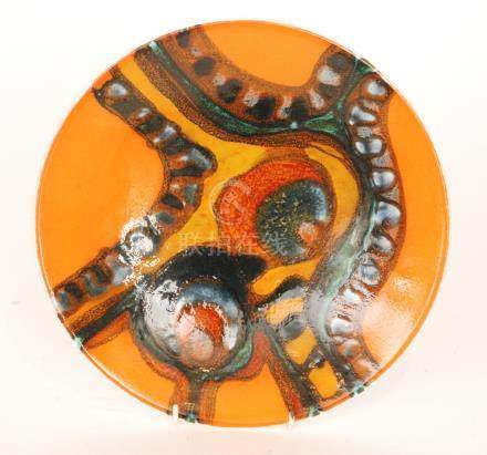 A Poole Pottery Delphis shape 4 shallow bowl decorated in the typical manner with a bright abstract