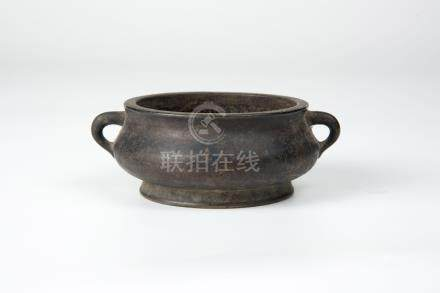 Qing, A Small Bronze Censer with Qilin Handles