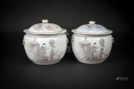 Republic Period, A Pair of Hehe Painted Jar with Cover