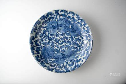Kangxi, Blue and White Citron Plate