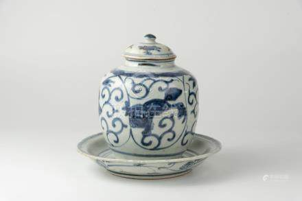 Late Ming, Blue and White Lion Jar