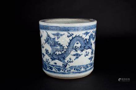 Guangxu,A Large Blue and White Dragon Incense Burner