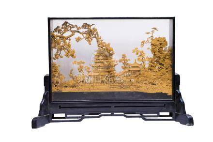Fifties, Table Screen of Wood Carving with Scene from the Red Chamber