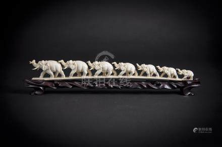 Ivory Carving of Elephant Herd