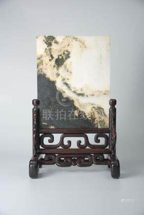 Qing, Marble Table Screen with Red-Wood Frame