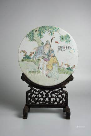 Guangxu,Qian Jiangcai Figural Ceramic Plaque as Table Screen