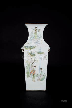 Republic Period, Water-colored Figural Square Vase