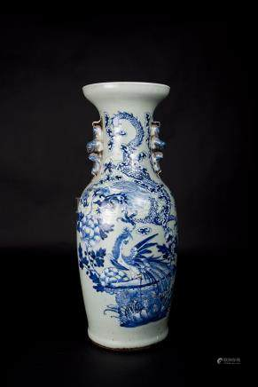 Qing,Pea Green Dragon Vase