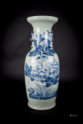 Qing, Pea-green Birds and Flowers Vase