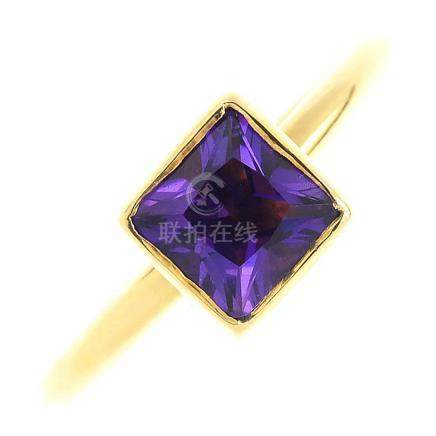 An 18ct gold amethyst ring. The square-shape amethyst, within a collet setting, to the plain band.