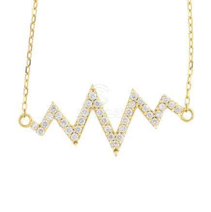 An 18ct gold diamond necklace. Designed as a brilliant-cut diamond zigzag, suspended from an