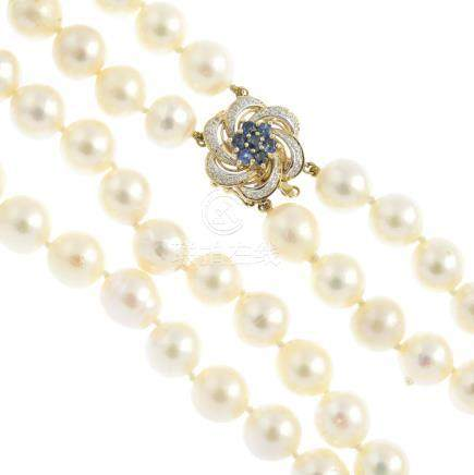 A cultured pearl two-row necklace. Comprising two rows of thirty-eight and thirty-seven cultured