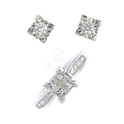 An 18ct gold diamond ring and pair of 9ct gold diamond earrings. The ring designed as a square-shape
