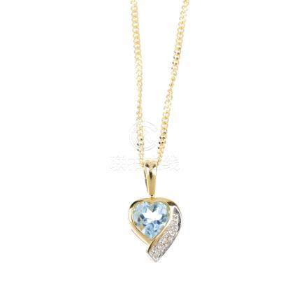 A 9ct gold aquamarine and diamond pendant. Of bi-colour design, the heart-shape aquamarine, with