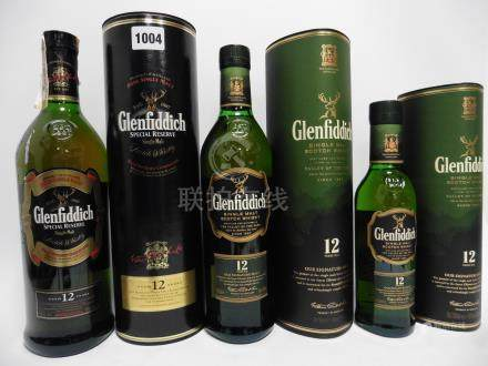 3 bottles of Glenfiddich 12 year old Single Malt Scotch Whisky with cartons,