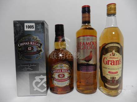 3 bottles, 1x Chivas Regal 12 year old blended Scotch Whisky with box 40% 70cl,