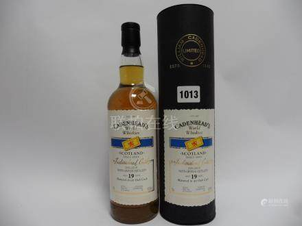 A bottle of Cadenhead's North British Distillery Single Grain 19 year old Whisky matured in Bourbon