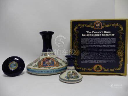 A British Navy Pusser's Rum Wade Ceramic Decanter celebrating Lord Nelson & HMS Victory with box,