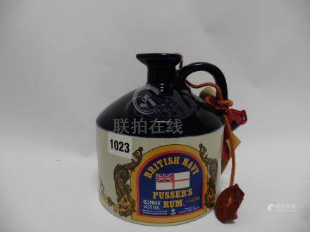 A British Navy Pusser's Rum Wade Ceramic Decanter celebrating Jolly Jack Pussar & Lord Nelson's
