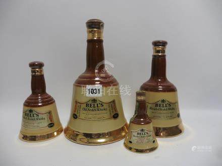 4 various Bell's Wade Whisky bell decanters, 40% 70proof, 1x 75.7cl/26 2/3 floz, 1x 37.5cl, 1x 18.