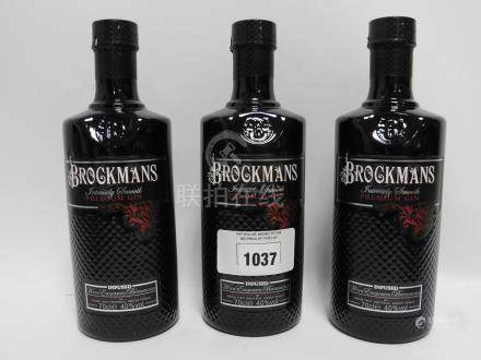 3 bottles of Brockmans Intensely Smooth Premium Gin 40% 70cl (Note VAT @20% will also be added to