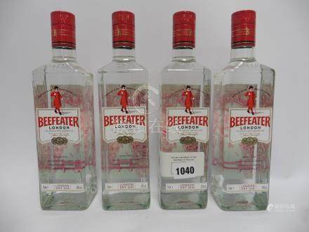 4 bottles of Beefeater London Dry Gin 40% 70cl (Note VAT @20% will also be added to the bid price