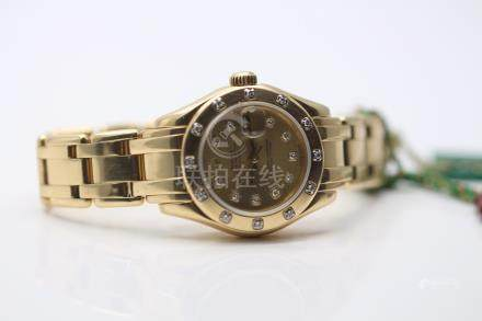 Rolex Pearlmaster, 18t Yellow Gold, Factory Diamond Bezel and Dial, Box & Papers