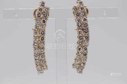 14ct Yellow Gold Diamond Earrings, 5.76cts