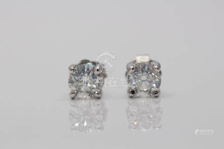 18ct White Gold Ladies Diamond Solitaire Earrings