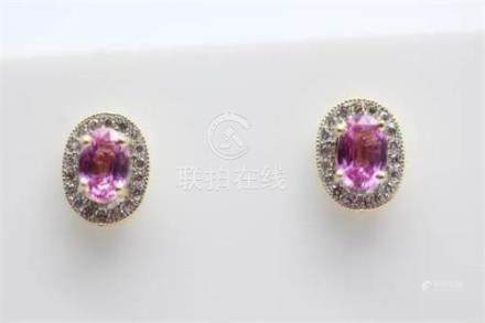 9ct yellow gold natural pink sapphire and diamond earrings, sapphire weight- 1.13 carats