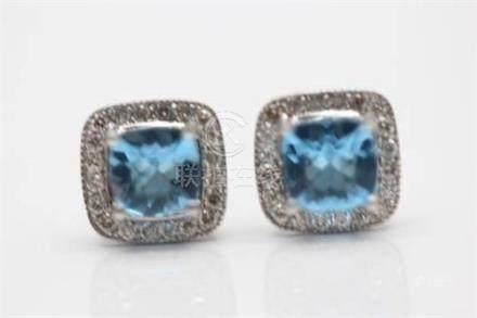 9ct white gold diamond and topaz earrings