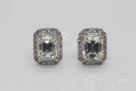18ct White Gold Ladies Emerald Cut Diamond Earrings, TCW- 1.92cts