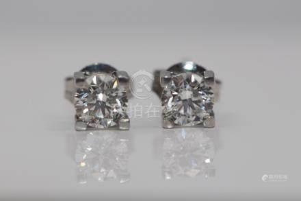 Platinum Ladies Diamond Solitaire Earrings