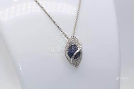 18ct White Gold Diamond and Sapphire Pendant