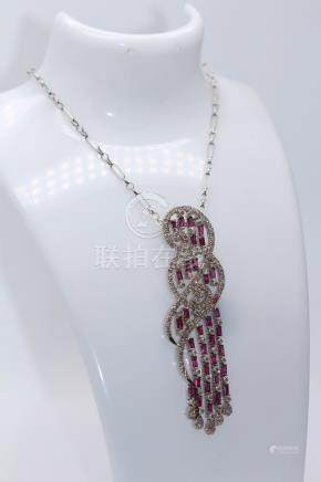 9ct White Gold Diamond Art Deco Style Pendent and Chain, Diamonds- 2.35 CTS