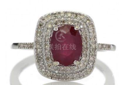 Certified by GIE 14ct White Gold Oval Ruby And Diamond Cluster Ring