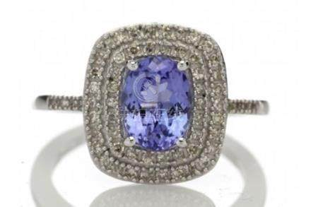 Certified by GIE 14ct Gold Oval Tanzanite And Diamond Cluster Ring