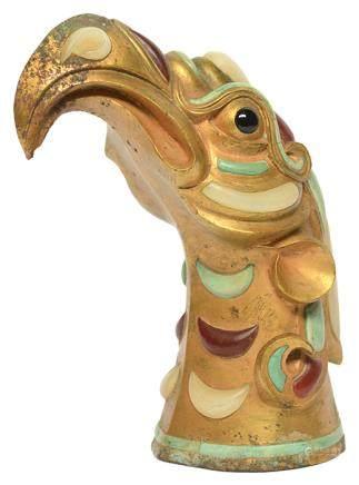 銅鎏金鑲彩石鷹首杖首